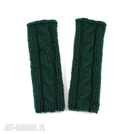 mitenki z warkoczem dziergane handmade bez palców - rękawiczki, mitenki, warkocz