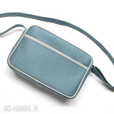 mała torba miejska - tkanina niebieska i skóra szara, elegancka, nowoczesna, prezent