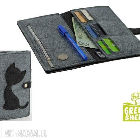 portfele duży portfel z kotem -maxi, portfel, filc, portmonetka, filcowa, kot, kotek