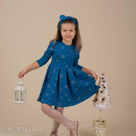 dziecięca sukienka śnieżynka niebieska, śnieżynki, święta, prezent, srebrne