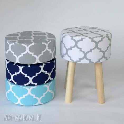 stołek puf fjerne m biało-szaro koniczyna - handemade, stołek