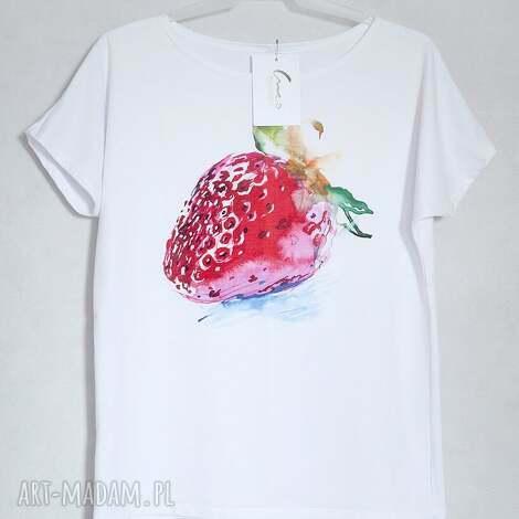koszulki truskawka koszulka bawełniana l/xl biała, koszulka, bluzka, nadruk