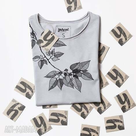 bluzki leaves szara koszulka oversize tunika, tshirt, ornamnet, nadruk