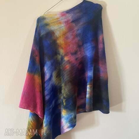 ponczo wełniane blue róż, ponczo, tunika, sweter, narzutka, wełniana, oversize