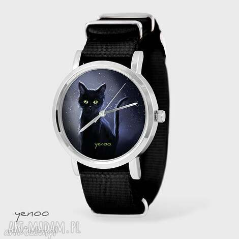 zegarek, bransoletka - czarny kot czarny, nato, bransoletka