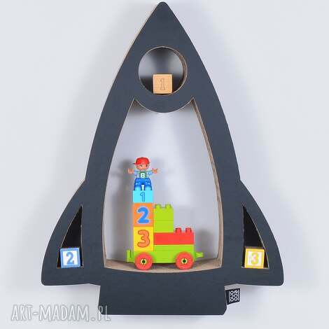 półka na książki zabawki rakieta ecoono czarny - półka