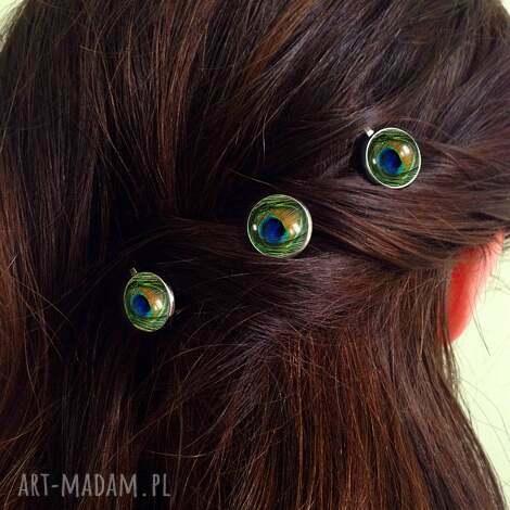 pawie oko - 3 wsuwki do włosów, pawie, oczko, paw, wsuwki, spinki