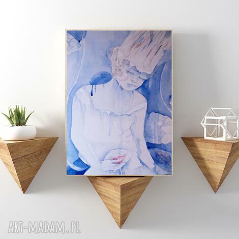 biała królowa reprodukcja 20x30 cm, obraz, królowa, reprodukcja, plakat, błękitny, a4