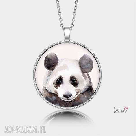 medalion okrągły panda - prezent, czarno, biała, puszysta, bambus, zwierzak