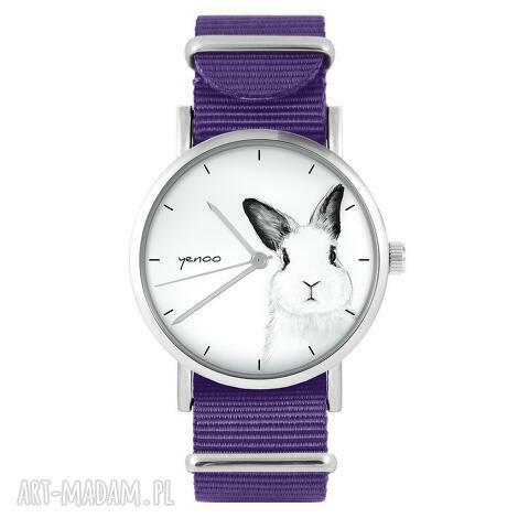 zegarek - królik fioletowy, nylonowy, zegarek, nylonowy pasek, typ militarny