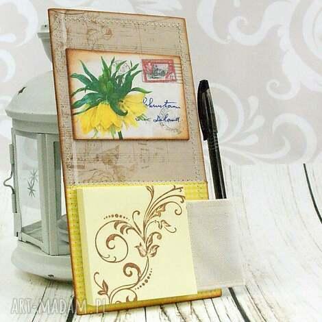 notes na lodówkę -wiosenna pocztówka, kwiaty, wiosenne, zapiśnik, notes, magnes