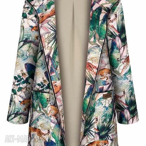 jesienny płaszcz przeciwdeszczowy, ocieplony w gepardy, parka damska, kurtka damska