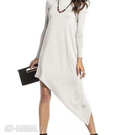 sukienka asymetryczna z delikatnej wiskozy, t299, jasnoszary
