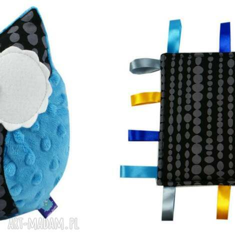 komplet niemowlaka, wzór beads - sowa, kropki, dots, gryzak, metkowiec, sensorek