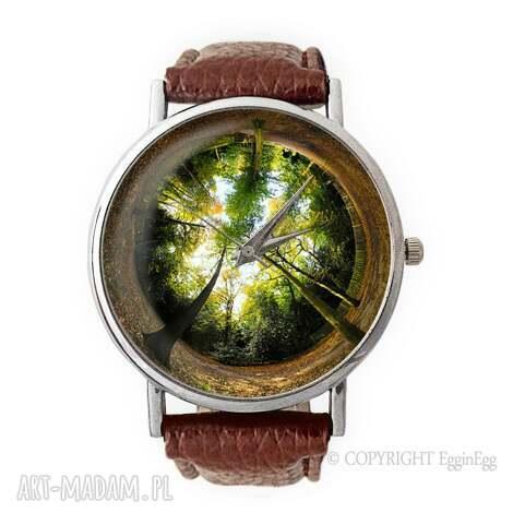 las - skórzany zegarek z dużą tarczką - zegarek, skórzany, las, drzewa