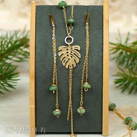 złocony komplet z zielonym jaspisem c889, jaspisem, złocona biżuteria