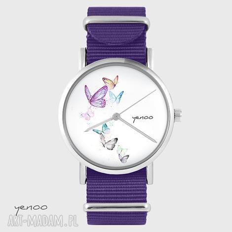 yenoo zegarek - motyle fioletowy, nato, zegarek, bransoletka, nylonowy, motyl