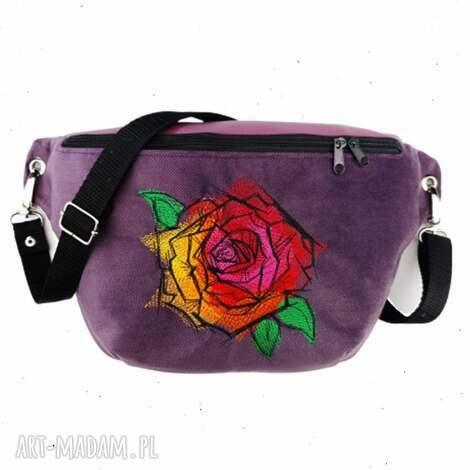 nerki nerka xxl róża, nerka, haft, kwiatowa, fioletowa, saszetka torebki
