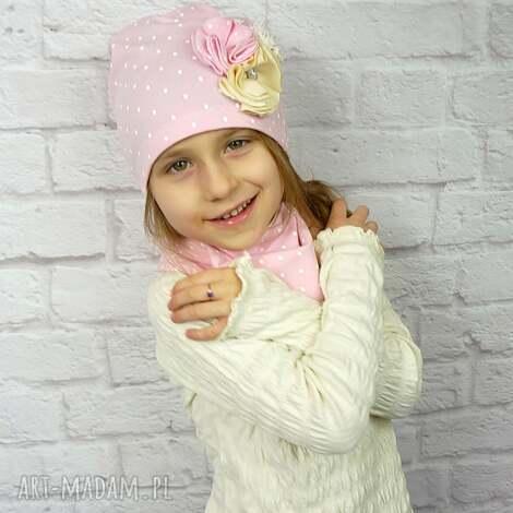 cienki komplet dla dziewczynki, czapka, komin, opaska, opaska