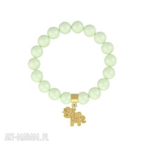 bransoletka z perełek swarovskiego - for kids, jednorożec, perła, swarovski, srebro