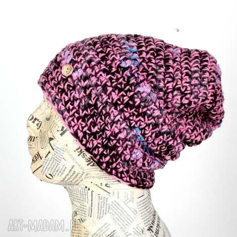 066 czapka beanie kolorowa uniwersalna ciepła, na prezent, włóczka narty