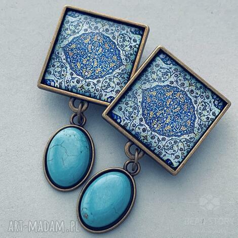 klipsy marrakesz, arabeski, maroko, kaboszon, howlit, mosiądz, kwadrat biżuteria