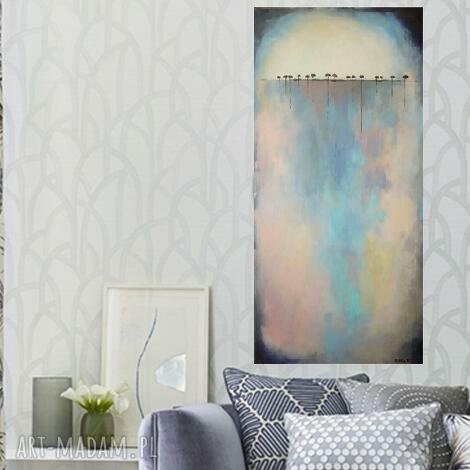 paulina lebida obraz na płótnie - drzewa -abstrakcja 100/50 cm, abstrakcja, niebieski