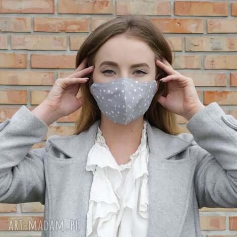 maseczki maseczka profilowana szara w gwiazdki, maseczka, maska