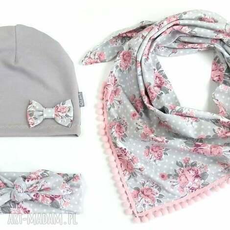 komplet wiosenny, czapka, chusta i opaska - czapka, pinup, chusta, wiosna, bawełna