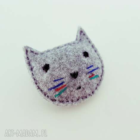 broszka filcowy kot antonio - filcowa, broszka, kot, filcowy, kotek