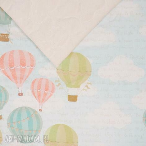 kocyk pikowany velvet cotton slim balony ecru - kocyk, dziecko, wózek