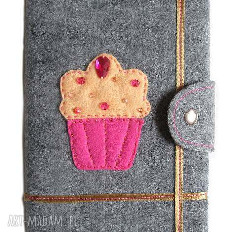 okładka z muffinkiem, muffin, muffinek, okładka, notes, cyrkonie