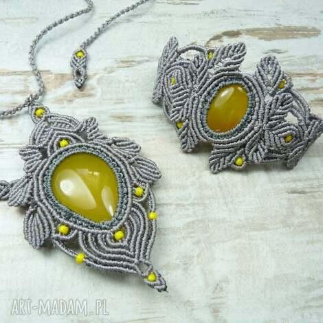 komplet biżuterii z agatem brazylijskim, agat, makrama, sznurek, sznurkowa