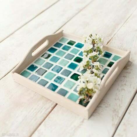 taca kwadratowa z mozaiką ceramiczną - biała taca, z mozaiką,