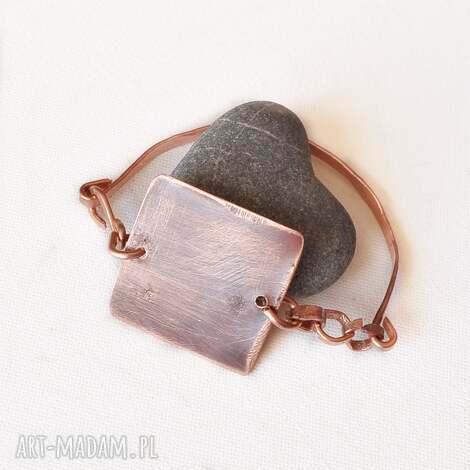 bransoletka z kutej i oksydowanej miedzi 10 - bransoletka, miedż, oksydowana