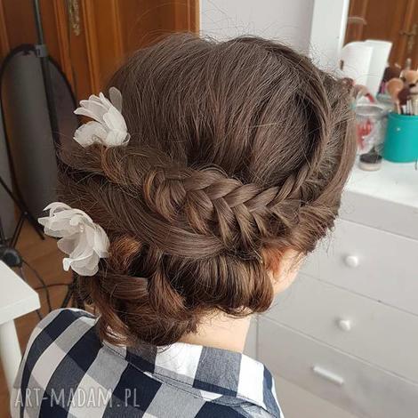 jedwabne kwiatki, jedwab, kwiaty, ecru, ślub ozdoby do włosów