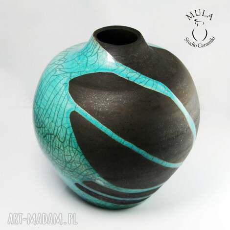 unikalny prezent, ceramika wazon raku rozlany turkus, ceramika, wazon, raku, kwiaty