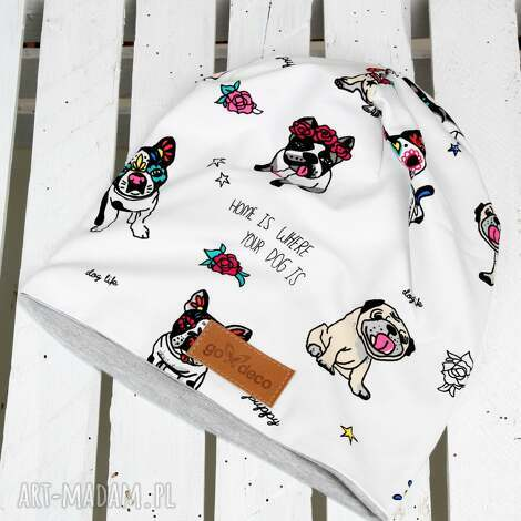 czapka mops buldog - czapka, mops, buldog, pies, ciepła, bawełna
