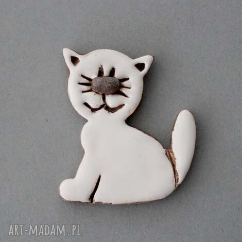 kicia-broszka, ceramika - minimalizm, kociara, kot, design, preznet, urodziny