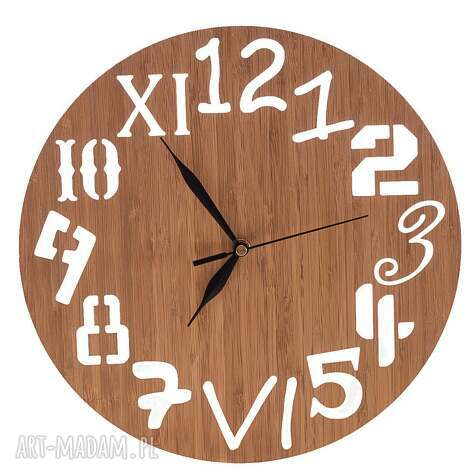 zegar z drewna bambusowego różne cyfry, naturalny, zegar, drewno, bambus, naturalny