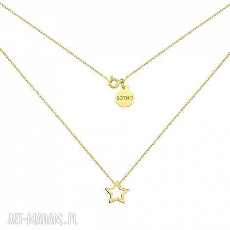 zŁoty naszyjnik z gwiazdkĄ - modny, naszyjnik, srebro, zawieszka, minimalistyczna