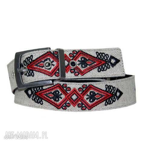 pasek haftowany w motywy góralskie, pas skóra, len haft