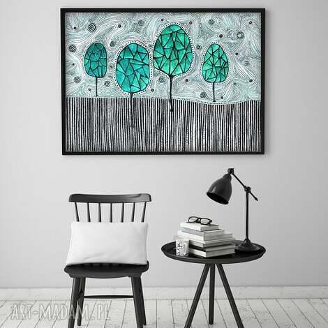 wyjątkowy prezent, plakat 60x90cm, plakat, obraz, drzewa, sztuka, ilustracja