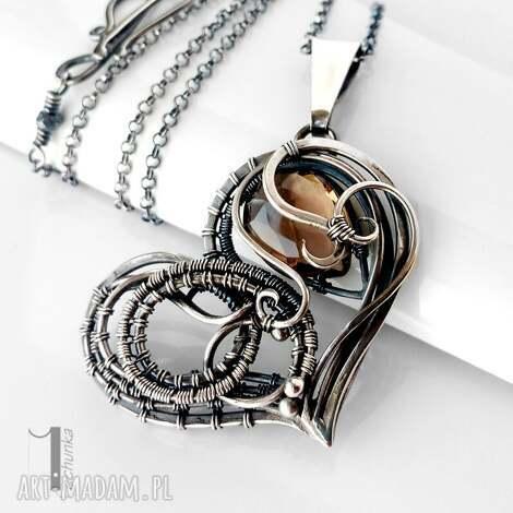 smoky heart srebrny naszynik z kwarcem dymnym - srebro, wirewrapping, kwarc, dymny