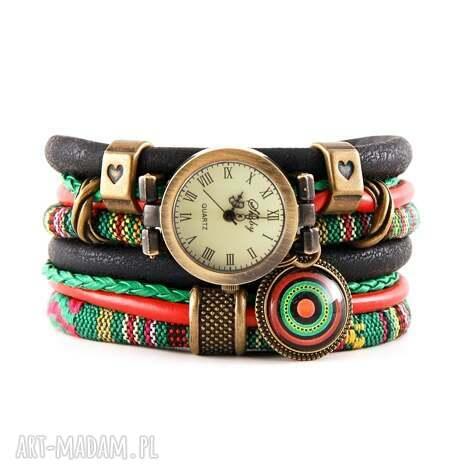 zegarek - bransoletka w stylu boho, zielony, czerwony, czarny, zegarek