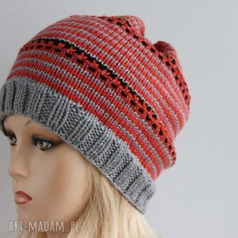 boho czapka w paski - paski, boho, kolorowa, czapka, krasnal, damska