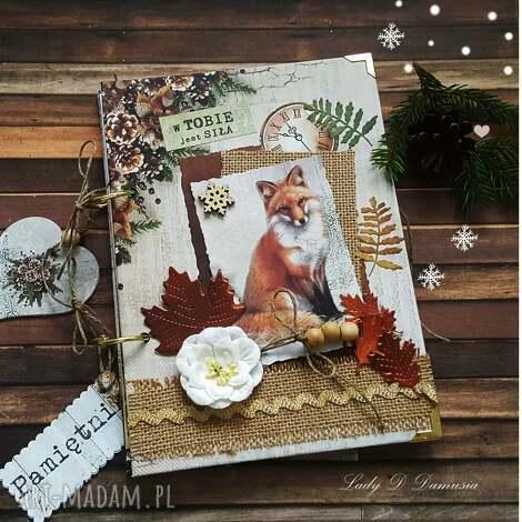 damusia pamiętnik z liskiem w stylu rustykalnym, notes, lisek, śnieżynka, serce