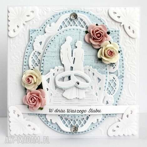 kartka ślubna - para na moście - kartka, ślubna, pamiątka, ślub