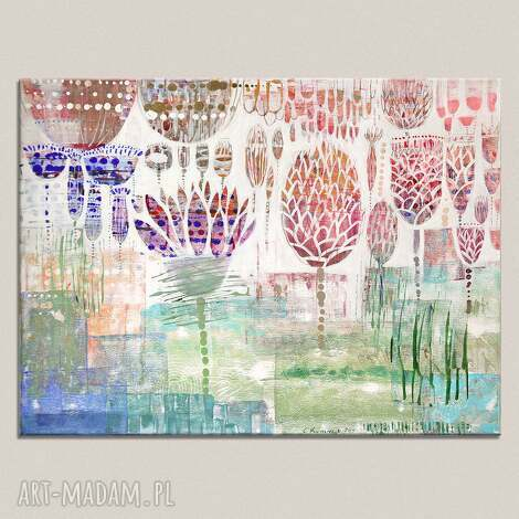 obraz akryl na płótnie - kwiaty, obraz, ręcznie, malowany, płótno
