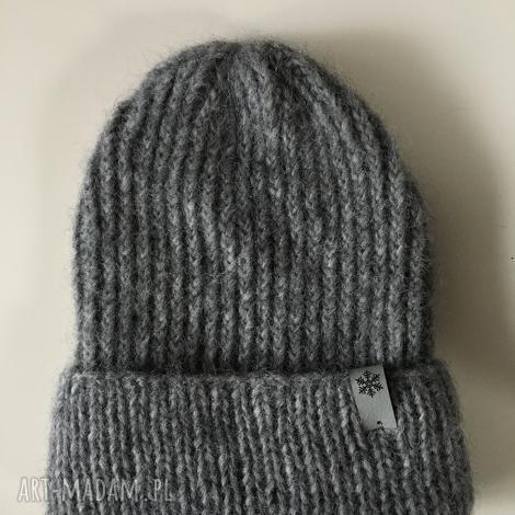 czapka wełniana na drutach zimowa alpaka handmade ręcznie robiona beanie, wool